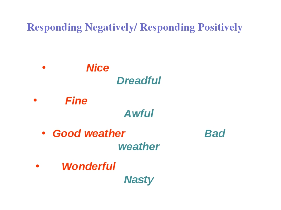 Responding Negatively/ Responding Positively Nice Dreadful Fine Awful Good we...