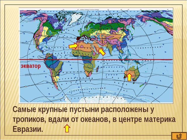 Самые крупные пустыни расположены у тропиков, вдали от океанов, в центре мате...