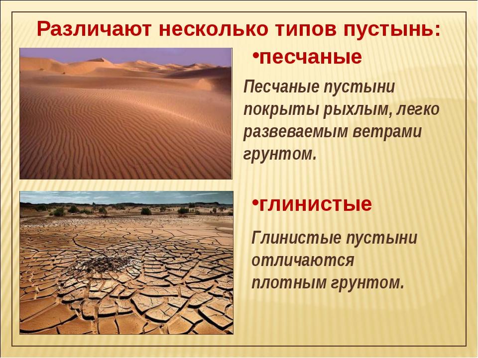 Различают несколько типов пустынь: песчаные Песчаные пустыни покрыты рыхлым,...