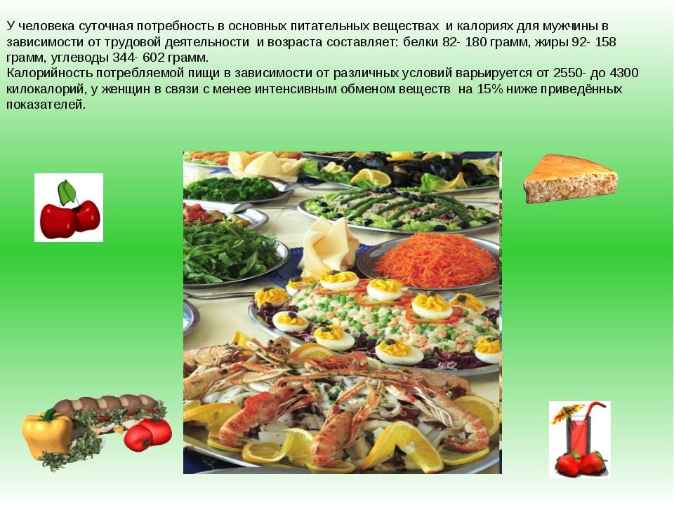 У человека суточная потребность в основных питательных веществах и калориях д...