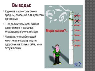 Выводы: Курение и алкоголь очень вредны, особенно для детского организма Прод