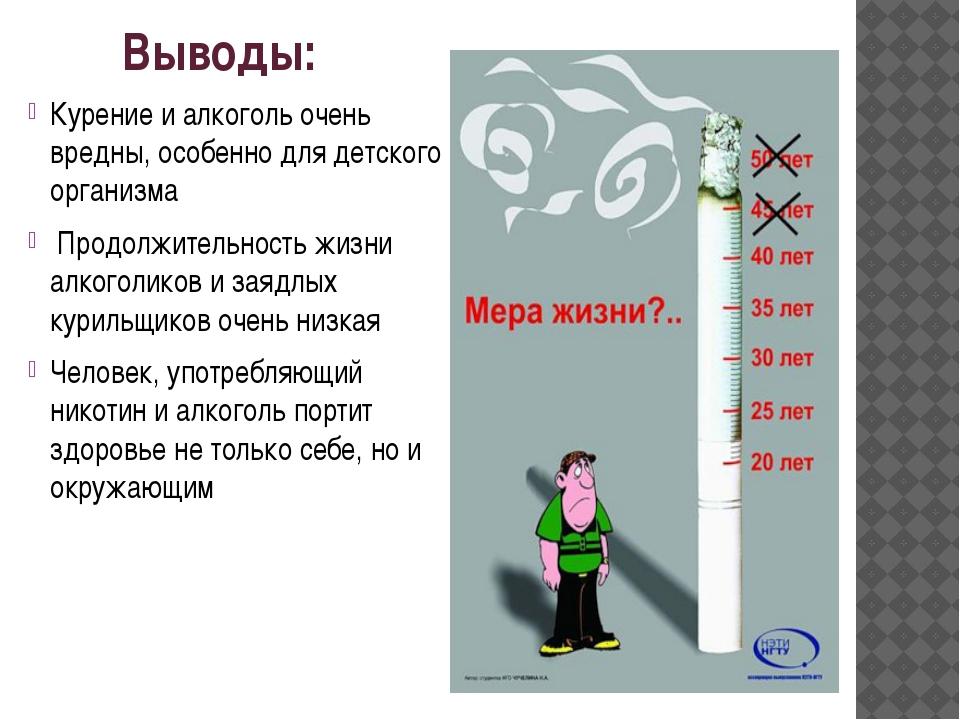 Выводы: Курение и алкоголь очень вредны, особенно для детского организма Прод...