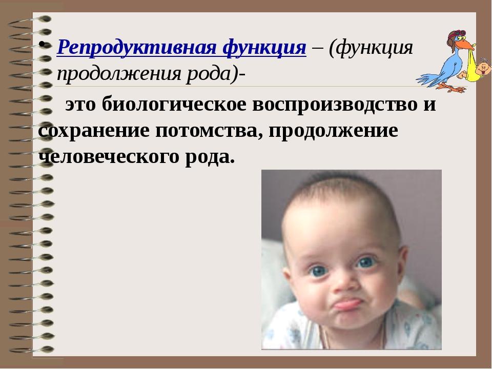 Репродуктивная функция – (функция продолжения рода)- это биологическое воспро...