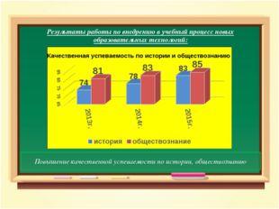 Результаты работы по внедрению в учебный процесс новых образовательных техно