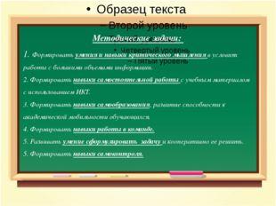 Методические задачи: 1. Формировать умения и навыки критического мышления в