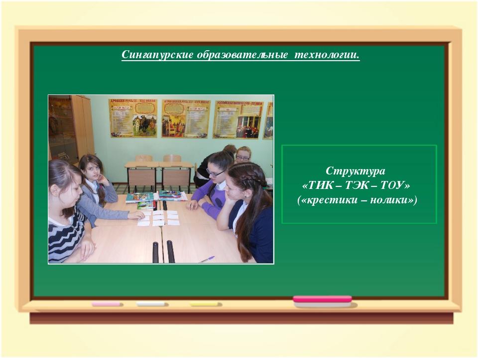 Сингапурские образовательные технологии. Структура «ТИК – ТЭК – ТОУ» («кре...