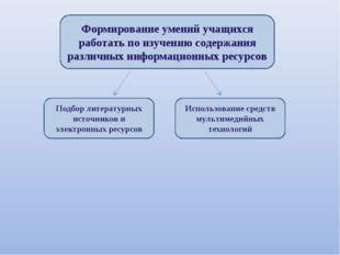 Формирование умений учащихся работать по изучению содержания различных информ