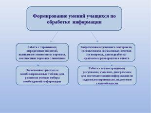 Формирование умений учащихся по обработке информации Работа с терминами, опре