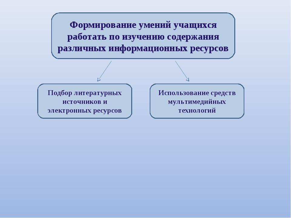 Формирование умений учащихся работать по изучению содержания различных информ...