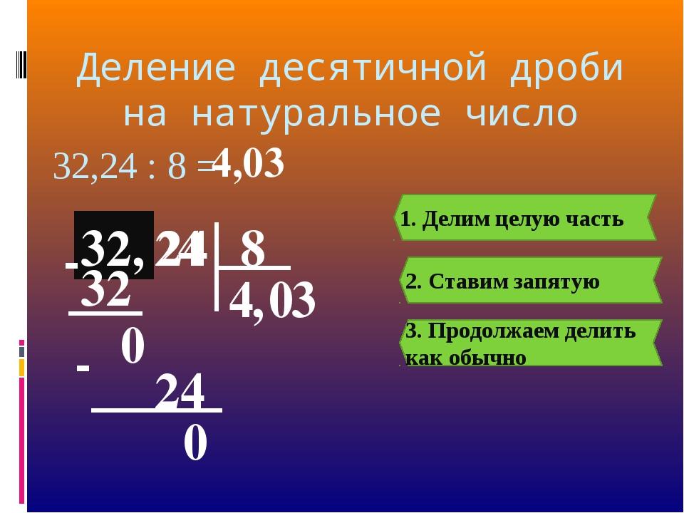 Деление десятичной дроби на натуральное число 32, 24 32,24 : 8 = 8 32, 4 1. Д...