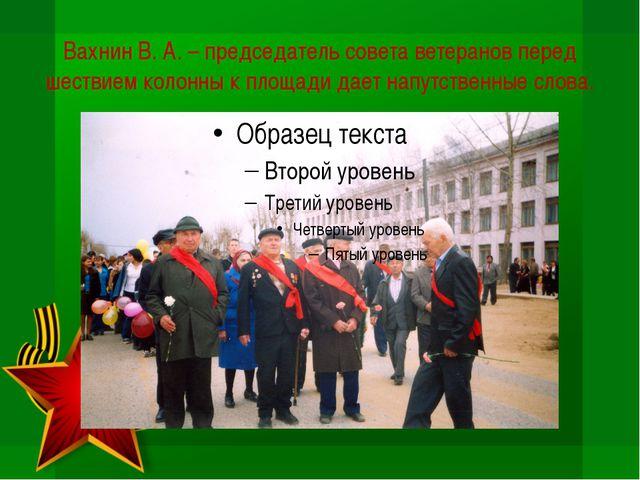 Вахнин В. А. – председатель совета ветеранов перед шествием колонны к площади...