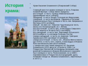 История храма: Храм Василия Блаженного (Покровский Собор) Главный престол хра