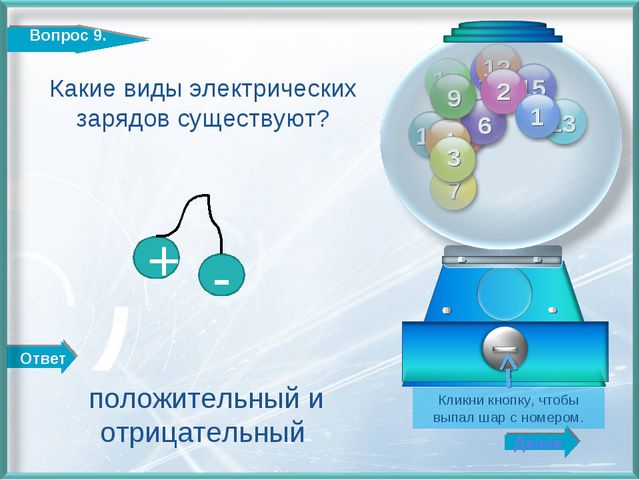 Ответ Далее http://edu-teacherzv.ucoz.ru Какие виды электрических зарядов сущ...