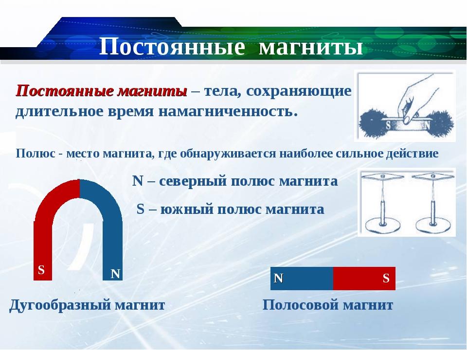 Постоянные магниты N – северный полюс магнита S – южный полюс магнита Постоян...
