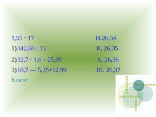 1,55 · 17 И.26,34 342,68 : 13 К. 26,35 32,7 · 1,6 – 25,95 А. 26,36 18,7 — 5,3