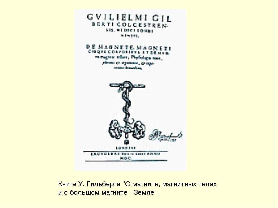 """Книга У. Гильберта """"О магните, магнитных телах и о большом магните - Земле""""."""