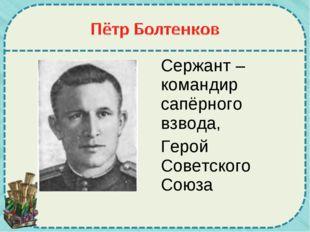 Сержант – командир сапёрного взвода, Герой Советского Союза