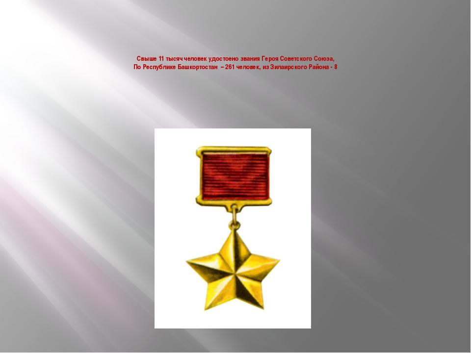 Свыше 11 тысяч человек удостоено звания Героя Советского Союза, По Республике...