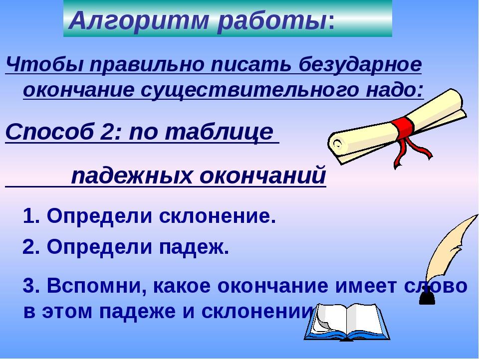 Чтобы правильно писать безударное окончание существительного надо: Способ 2:...