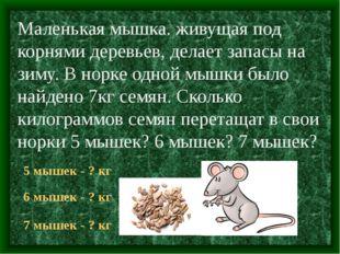 Маленькая мышка. живущая под корнями деревьев, делает запасы на зиму. В норке