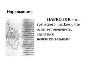 Наркомания. НАРКОТИК – от греческого «narkoo», что означает оцепенеть, сделат