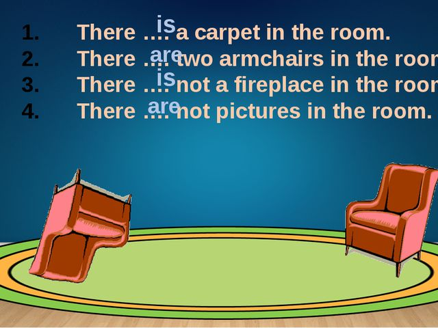 There …. a carpet in the room. There …. two armchairs in the room. There …....