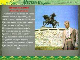 Цветы на камне Перевод В. Тушновой …Любимая, ты помнишь об Урале, О синих дал