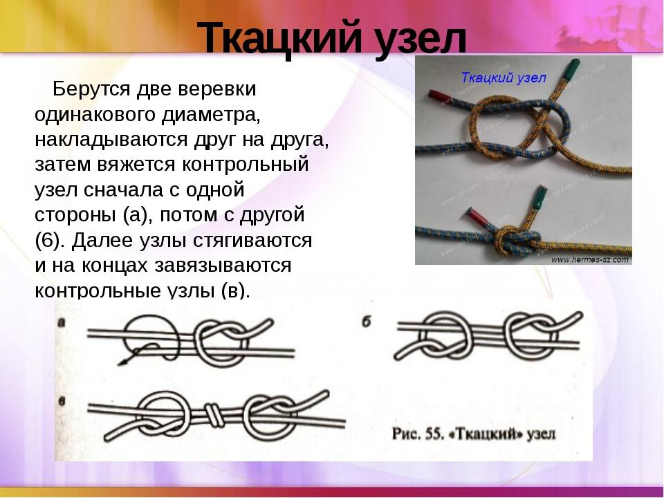 Ткацкий узел Берутся две веревки одинакового диаметра, накладываются друг на...