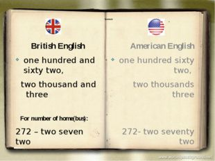 Numerals British English one hundred and sixty two, two thousand and three F