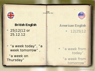 "Dates Christmas Day, 2012: British English 25|12|12 or 25.12.12 ""a week toda"