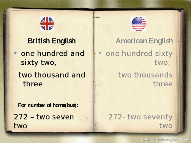 Numerals British English one hundred and sixty two, two thousand and three F...