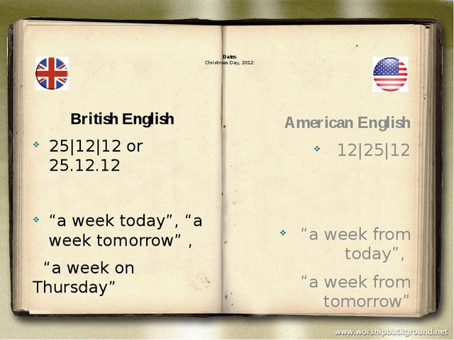 "Dates Christmas Day, 2012: British English 25|12|12 or 25.12.12 ""a week toda..."