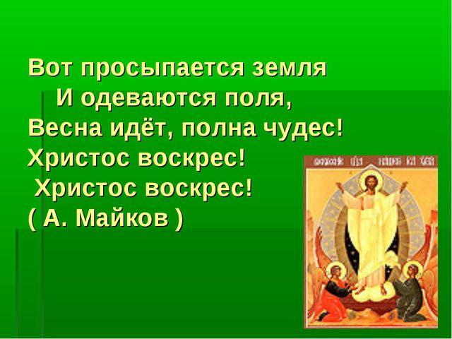 Вот просыпается земля И одеваются поля, Весна идёт, полна чудес! Христос вос...