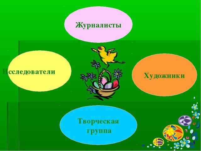 Художники Творческая группа Исследователи Журналисты