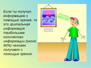 Если ты получил информацию с помощью зрения, то это зрительная информация. На