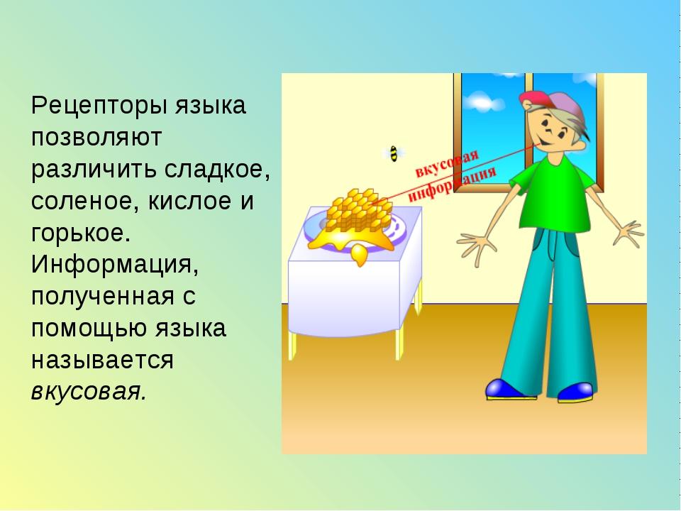 Рецепторы языка позволяют различить сладкое, соленое, кислое и горькое. Инфор...