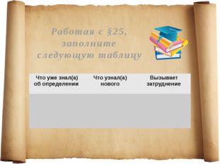 Работая с §25, заполните следующую таблицу Что уже знал(а) об определен