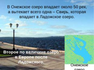 Онежское озера В Онежское озеро впадает около 50 рек, а вытекает всего одна