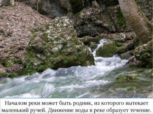 Начинается река с истока. Началом реки может быть родник, из которого вытекае