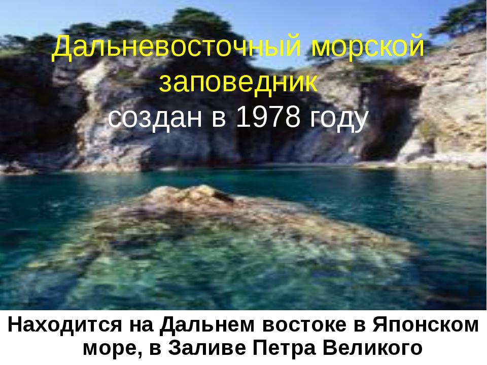 * Дальневосточный морской заповедник создан в 1978 году Находится на Дальнем...