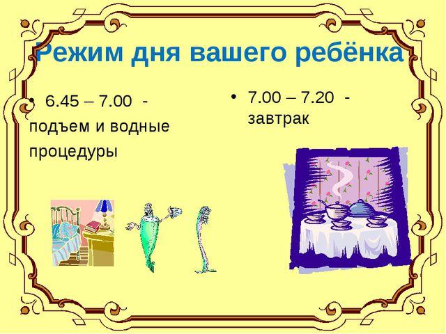 Режим дня вашего ребёнка 6.45 – 7.00 - подъем и водные процедуры 7.00 – 7.20...