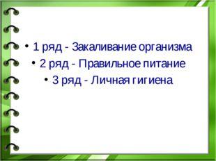 1 ряд - Закаливание организма 2 ряд - Правильное питание 3 ряд - Личная гиги