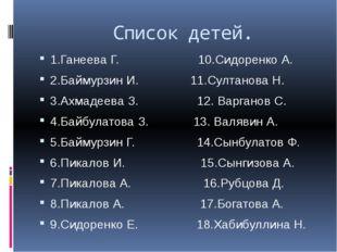 Список детей. 1.Ганеева Г. 10.Сидоренко А. 2.Баймурзин И. 11.Султанова Н. 3.
