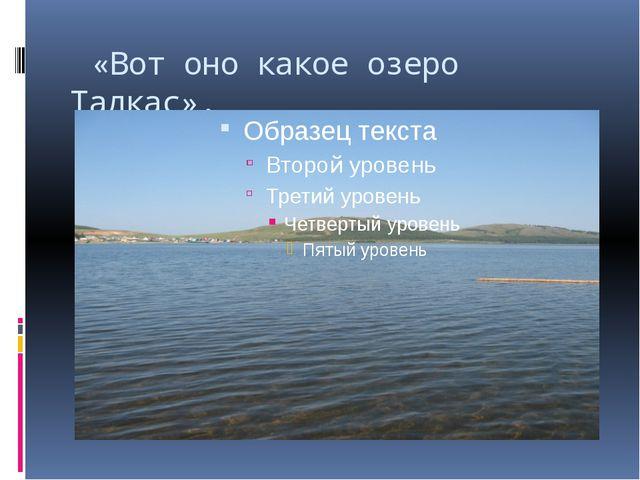 «Вот оно какое озеро Талкас».