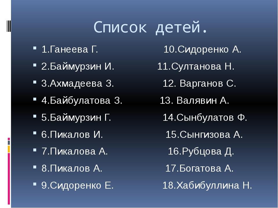 Список детей. 1.Ганеева Г. 10.Сидоренко А. 2.Баймурзин И. 11.Султанова Н. 3....