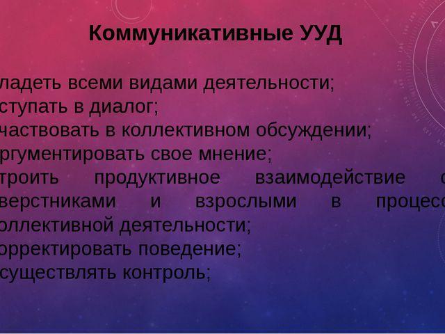 Коммуникативные УУД владеть всеми видами деятельности; вступать в диалог; уча...