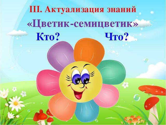 ІІІ. Актуализация знаний «Цветик-семицветик» Кто? Что?
