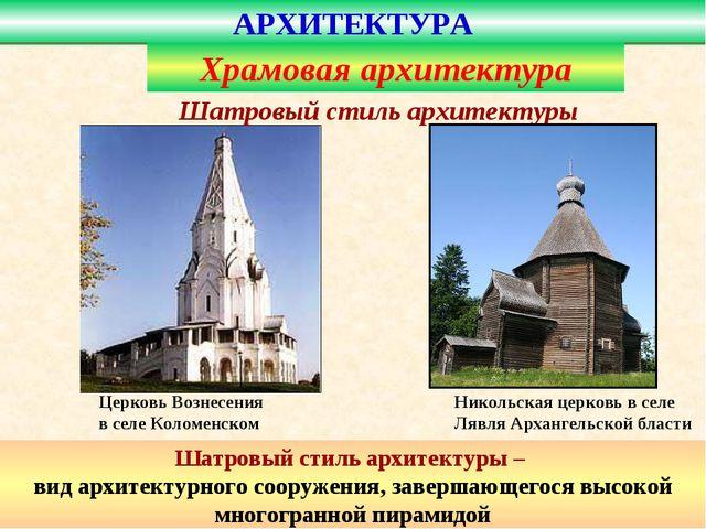 Церковь Вознесения в селе Коломенском Шатровый стиль архитектуры – вид архите...