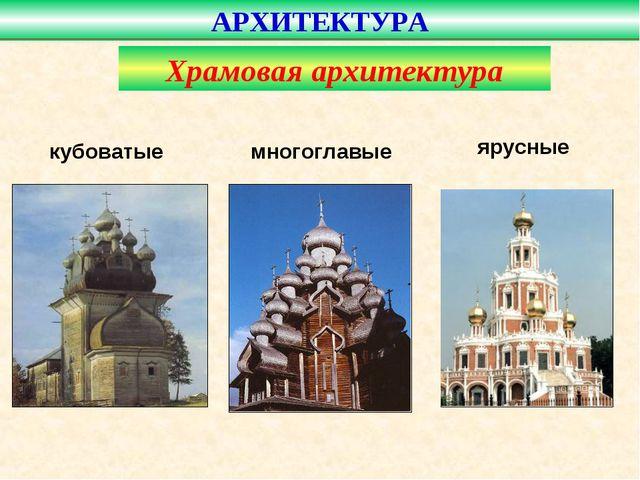 АРХИТЕКТУРА кубоватые многоглавые ярусные Храмовая архитектура