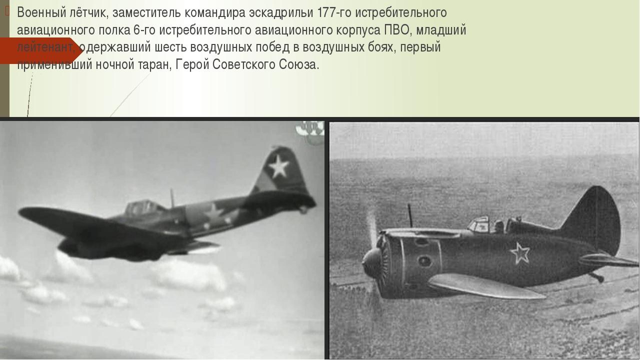Военный лётчик, заместитель командира эскадрильи 177-го истребительного авиац...